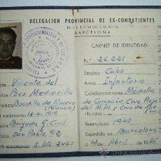 Militaria: CARNET DE EX-COMBATIENTE. BRIGADA DE LA GUARDIA CIVIL. Lote 26491050