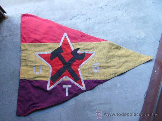 BANDERA REPUBLICANA U.G.T - MANRESA -TALLERES MECANICOS COLECTIVIZADOS MANRESA (Militar - Propaganda y Documentos)