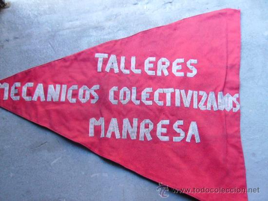 Militaria: BANDERA REPUBLICANA U.G.T - MANRESA -TALLERES MECANICOS COLECTIVIZADOS MANRESA - Foto 2 - 19575901