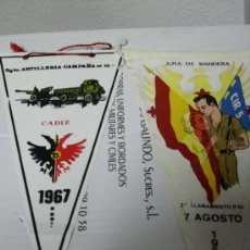 Militaria: LOTE BANDERIN JURA BANDERA 7 AGOSTO 1966, REG. ARTILLERIA CAMPAÑA Nº15, 1967 CADIZ. Lote 17857280
