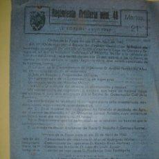 Militaria: 1942 ORDEN DEL DIA DEL REGIMIENTO DE ARTILLERIA Nº 42. Lote 27046801