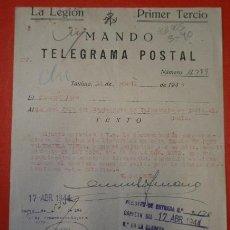 Militaria: DOCUMENTO TAMAÑO CUARTILLA DE LA LEGIÓN, 1944. Lote 18412233