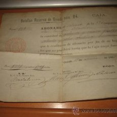 Militaria: BATALLON RESERVA DE OVIEDO Nº 84 CAJA OVIEDO 1882. Lote 21385858