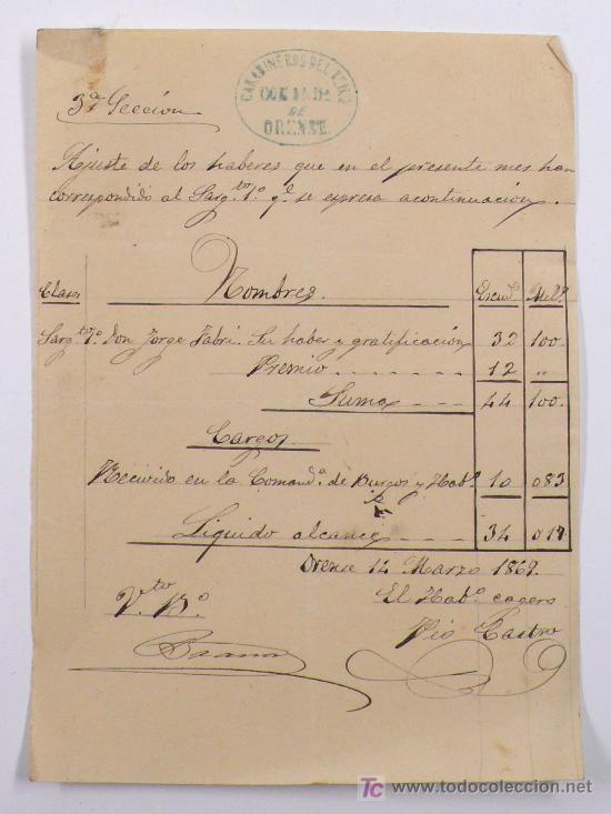 CARABINEROS DEL REINO, COMANDANCIA DE ORENSE. AÑO 1869. (Militar - Propaganda y Documentos)