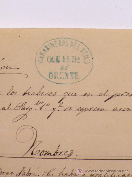 Militaria: carabineros del reino, comandancia de Orense. año 1869. - Foto 2 - 46401428