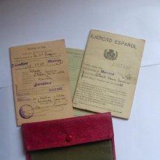 Militaria: DOCUMENTOS MILITARES CON SU ORIGINAL CARTERA DE ROPA. MANRESA.1928-30. Lote 19171796