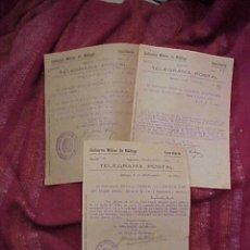 Militaria: TELEGRAMA POSTAL DEL GOBIERNO MILITAR DE MALAGA. TELEGRAMAS AÑO 1940, 1941. Lote 19379835