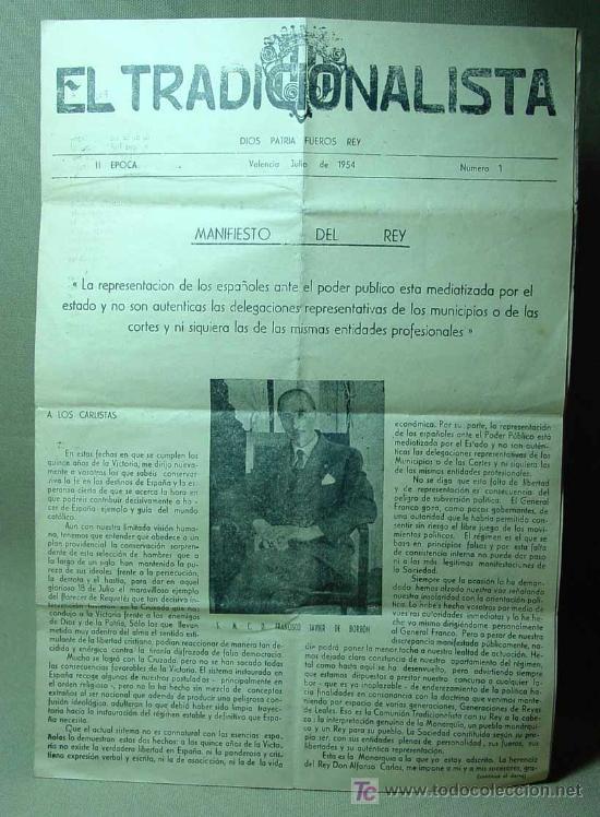 Militaria: EL TRADICIONALISTA, 2ª EPOCA, Nª 1, MANIFIESTO DEL REY, REQUETE, DE BORBON, VALENCIA, 1954 - Foto 2 - 19648634