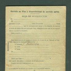 Militaria: MILITAR CARTILLA HOJA DE MOVILIZACION . MERIDA. Lote 26832441