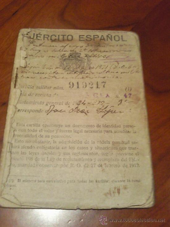 ANTIGUA CARTILLA MILITAR EJERCITO ESPAÑOL ALISTAMIENTO GENERAL DE 1924 (Militar - Propaganda y Documentos)