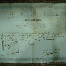 Militaria: PASAPORTE DE UN CIUDADANO DE GUIPUZCOA PARA PASAR DE LA HABANA A LOS EEUU EN EL VAPOR MATANZAS. 1857. Lote 25722941