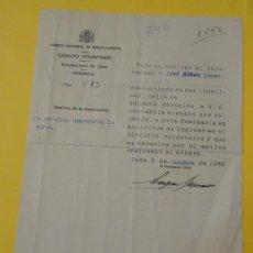 Militaria: DOCUMENTO TAMAÑO CUARTILLA, COMITÉ NACIONAL DE RECLUTAMIENTO, JAÉN, REPÚBLICA. Lote 21562587