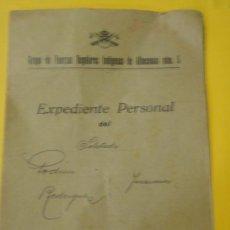 Militaria: DOCUMENTO TAMAÑO CUARTILLA, EXPEDIENTE PERSONAL, REGULARES 5, ALHUCEMAS. Lote 21562665