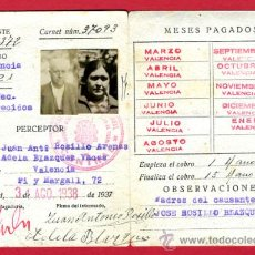 Militaria: CARNET GUERRA CIVIL, MINISTERIO DE DEFENSA, PAGADURIA EJERCITO DE GUERRA, 2 FOTOS, 1938 , ORIGINAL. Lote 22723011