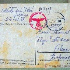Militaria: FELDPOST, RUSIA A VALENCIA, CARTA DE SOLDADO A MADRE, 1943. Lote 22795536