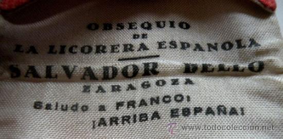 Militaria: ANTIGUA CARTERA DE TELA CON LOS COLORES DE ESPAÑA - LICORERIA ESPAÑOLA SALVADOR BELLO ZARAGOZA - RAR - Foto 3 - 24239135