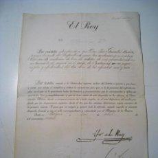 Militaria: CERTIFICADO PRIMER TENIENTE DEL CUERPO CARABINEROS DEL EJERCITO POR EL REY ALFONSO XIII - 1920. Lote 23143171