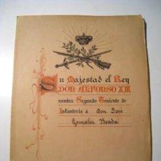 Militaria: TITULO DE SEGUNDO TENIENTE INFANTERIA - POR EL REY ALFONSO XIII EN TOLEDO - 1911. Lote 23143840