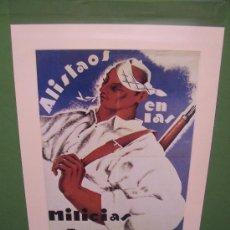 Militaria: PROPAGANDA GUERRA CIVIL - 1970 - MILICIAS ARAGONESAS - 32.5 X 24,5 CM. - UGT / CNT. Lote 23303567