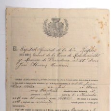 Militaria: AÑO 1908, LICENCIA ABSOLUTA A UN MILITAR, POR HABER ESTADO 12 AÑOS. Lote 25895933