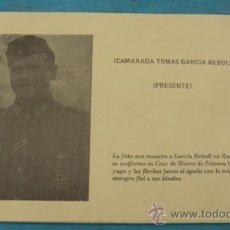 Militaria: ANTIGUA TARJETA DEL GENERAL TOMAS GARCIA REBULL PERTENECIENTE A LA DIVISION AZUL - DOS FOTOGRAFIAS -. Lote 24182662
