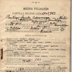 Militaria: CARTILLA MILITAR, MEDIA FILIACION NUMERO 1.907,989, AÑOS 30. Lote 24411848