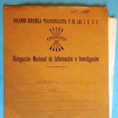 Militaria: EXPEDIENTE PERSONAL DE LA DELEGACIÓN DE INFORMACIÓN E INVESTIGACIÓN DE LA FET Y DE LAS JONS Nº26. . Lote 24932435