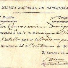Militaria - MILICIA NACIONAL DE BARCELONA 15º BATALLON 1ª COMPAÑIA 1835 - 27331465