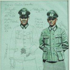Militaria: BOCETO ORIGINAL DE DIBUJANTE WERNER HORN PARA EL LIBRO DIE UNIFORMEN DER PANZERTRUPPE. Lote 25677772