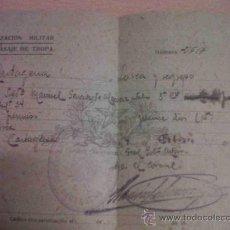 Militaria: ANTIGUO DOCUMENTO AUTORIZACION MILITAR PARA PASAJE DE TROPA INFANTERIA CARTAGENA LORCA MURCIA 1942. Lote 27534837