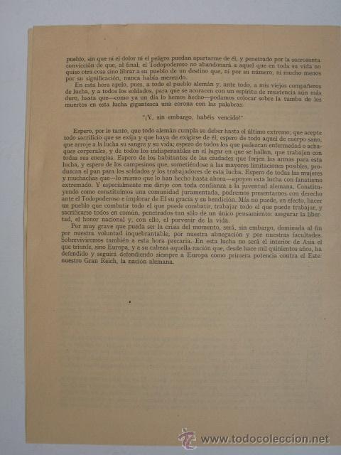 Militaria: Discurso de Adolf Hitler el día 30 de enero de 1945. Ver mas fotos. - Foto 3 - 26506269