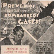 Militaria: PREVENIOS CONTRA LOS BOMBARDEOS Y LOS GASES / DR. WOOR HACKS. BCN, 1936. GUERRA CIVIL ESPAÑOLA. Lote 26618143