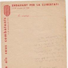 Militaria: PAPEL DE CORRESPONDENCIA CATALUNYA ALS SEUS COMBATENS-ENDAVANT PER LA LLIBERTAT 11 DE SETEMBRE 1938. Lote 26657365