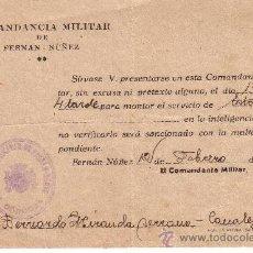 Militaria: COMANDANCIA MILITAR - ORDEN DE SERVICIO DE ESTACION - FEBRERO 1938. Lote 26935545