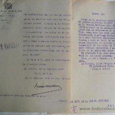 Militaria: 1937 DOS ESCRITOS SOBRE MULTA A VECINO DE VILLAJUAN-PONTEVEDRA POR TRANSPORTE ILEGAL DE PESCADO. Lote 27824979