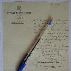 Militaria: DOCUMENTO TAMAÑO CUARTILLA DEL BATALLÓN DE TRABAJADORES Nº140. MANDO. OCTUBRE DE 1939.. Lote 28098873