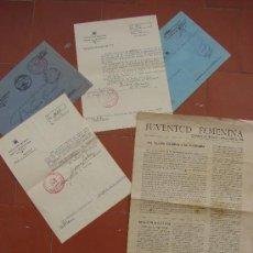 Militaria: LOTE DE 3 DOCUMENTOS DEL FRANQUISMO. FRANCO.. Lote 28382663