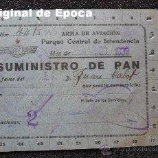 Militaria: (JX-751)TARJETA DE SUMINISTRO DE PAN ARMA DE AVIACION REPUBLICANA-GUERRA CIVIL. Lote 28391926