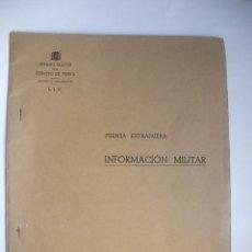 Militaria: GUERRA CIVIL - 1938- INFORMACIÓN MILITAR. Lote 28658790