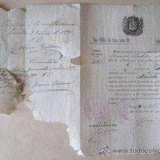 Militaria: LICENCIA DE UN SOLDADO. AÑO DE 1887- ZONA MILITAR DE CIEZA. ENVIO GRATIS¡¡¡. Lote 28690363