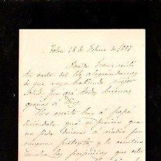 Militaria: PASCUAL CERVERA Y TOPETE. 1889. TOLON. CARTA MANUSCRITA A JUAN JACOME, SU CUÑADO.. Lote 28871039
