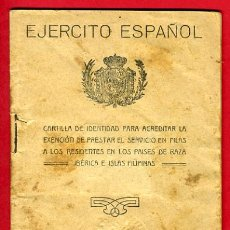 Militaria: CARNET, EJERCITO ESPAÑOL, CARTILLA EXENCION DE PRESTAR SERVICIOS, 1927, ASTURIANO EN CUBA. Lote 29023639