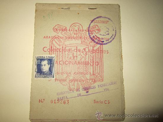 CARTILLA CUPONES DE RACIONAMIENTO.SEGUNDA CATEGORIA.PRIMER SEMESTRE 1952 (Militar - Propaganda y Documentos)