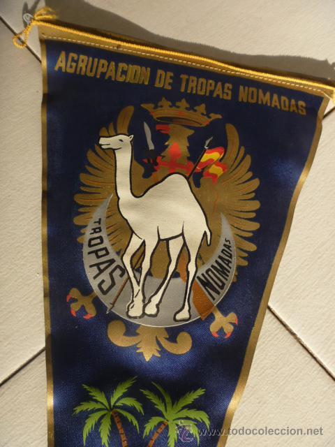 MUY ANTIGUO BANDERIN MILITAR DEL SAHARA ESPAÑOL,AGRUPACIÓN DE TROPAS NÓMADAS RARO Y PRECIOSO (Militar - Propaganda y Documentos)