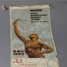 Militaria: BANDERÍN DE FALANGE DEL SEU-1963, DE LOS XI JUEGOS UNIVERSITARIOS NACIONALES.. Lote 29173598
