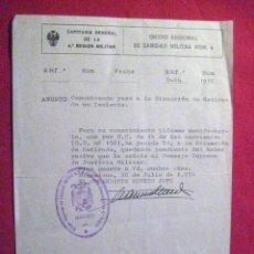 Militaria: CAPITANIA GENERAL 4ª REGION MILITAR. 1970 .ENVIO GRATIS. Lote 29203661