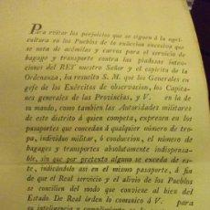 Militaria: MINISTERIO DE GUERRA MADRID MAYO 1813 ESCRITO GENERALES Y JEFES DE EJERCITOS CONCESION DE PASAPORTE. Lote 29355224