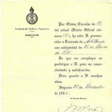 Militaria: CIRCULAR CON NOMBRAMIENTO DE TENIENTE DE LA ACADEMIA DE ARTILLERÍA E INGENIEROS - 1931. Lote 29356748