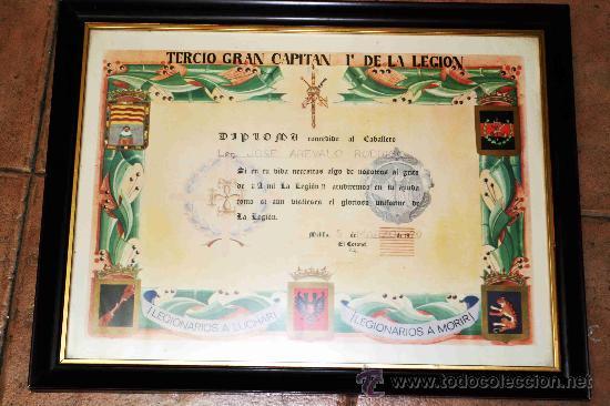 DIPLOMA ENMARCADO TERCIO GRAN CAPITAN 1º DE LA LEGION 1979 (Militar - Propaganda y Documentos)