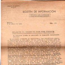 Militaria: BOLETÍN DE INFORMACIÓN, EMBAJADA DE ALEMANIA EN MADRID, EXCLUSIVO AUTORIDADES, 1941.LEER DESCRIPCIÓN. Lote 29773322